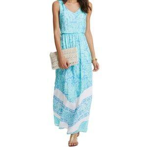 NWOT Vineyard Vines 100% Silk Palm Leaf Maxi Dress